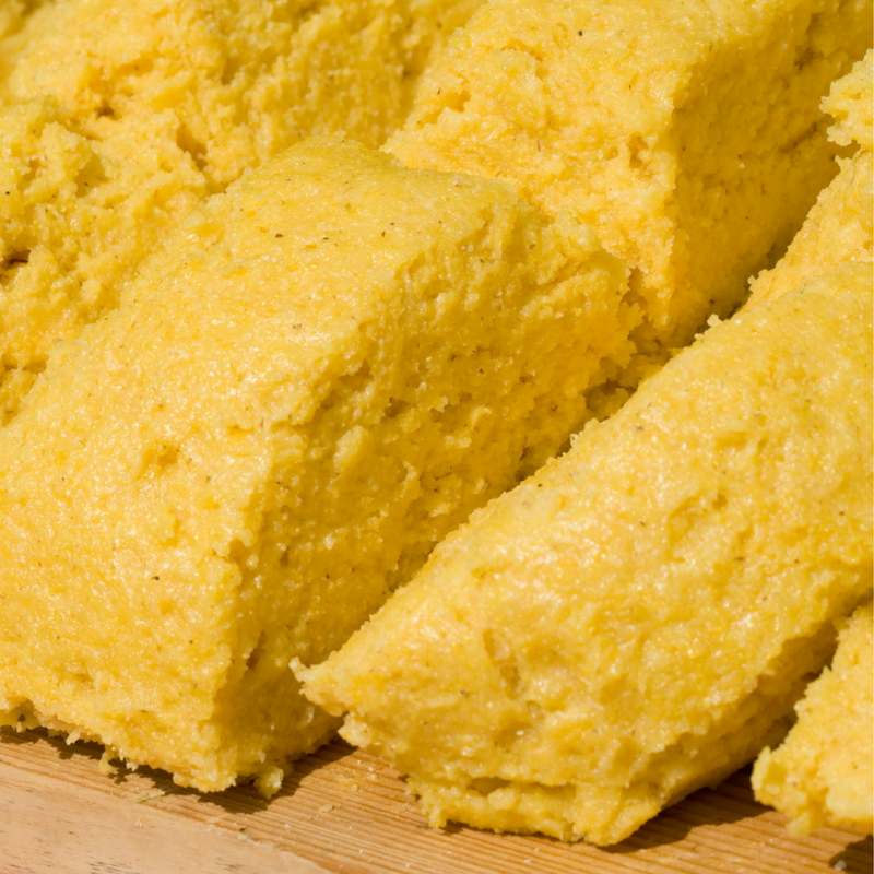 Cutting board with Polenta (cornmeal mush)